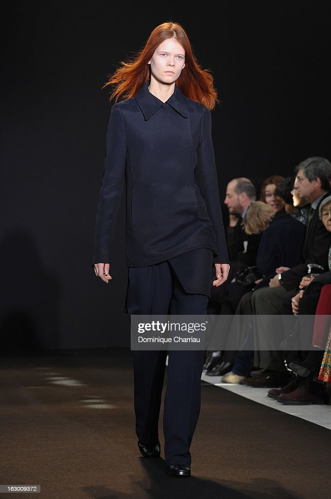 A model presents a creation by Costume National Fall/Winter 2013 Ready-to-Wear show as part of Paris Fashion Week on March 3, 2013 in Paris, France.