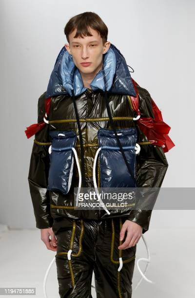 Model presents a creation by Craig Green, during the men's Fall/Winter 2020/2021 collection fashion show in Paris on January 19, 2020.
