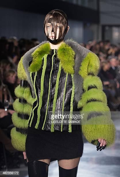 A model presents a creation by Danish fashion house Kopenhagen Fur autumn/ winter 2015 collection during the Copenhagen Fashion Week in Copenhagen on...