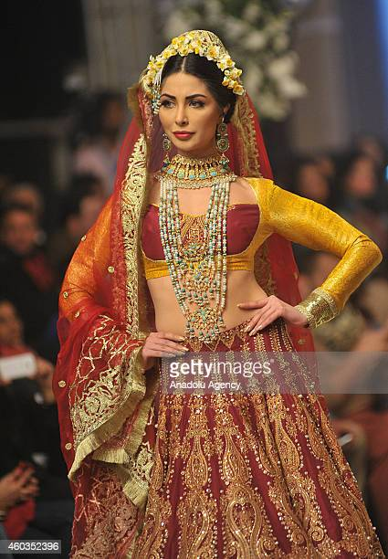 Model presents a creation by designer Ali Xeeshan on first day of Bridal Couture Fashion Week in Lahore Pakistan on December 11 2014