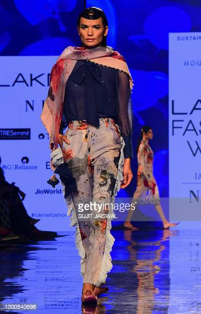 Model presents a creation by designer House of Three during the Lakmé Fashion Week 2020 Summer/Resort fashion show in Mumbai on February 13, 2020. /...