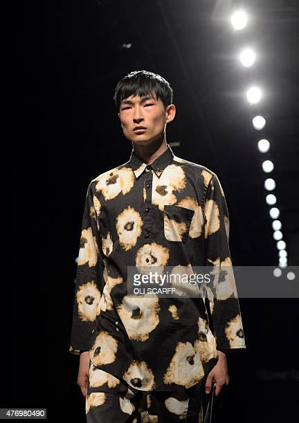 Model presents a creation by designer Oliver Spencer on the second day of the Spring/Summer 2016 London Collections Men fashion event in central...
