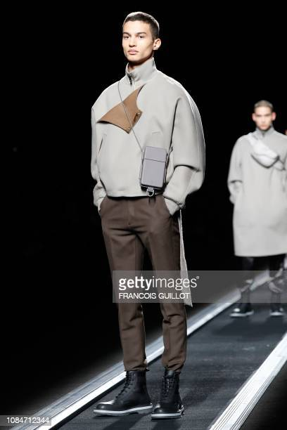 A model presents a creation by Dior during the men's Fall/Winter 2019/2020 collection fashion show in Paris on January 18 2019