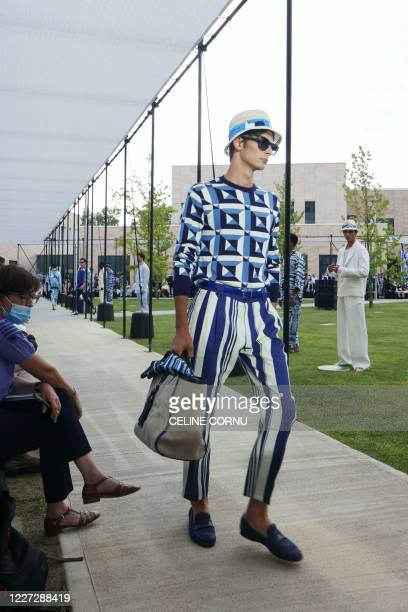 A model presents a creation by Dolce and Gabbanna during the men SpringSummer 2021 fashion collection shows as part of the Milano Digital Fashion...