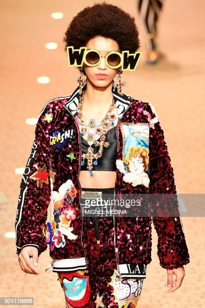 A model presents a creation by Dolce Gabbana during the women's Fall/Winter 2018/2019 collection fashion show in Milan on February 25 2018 / AFP...