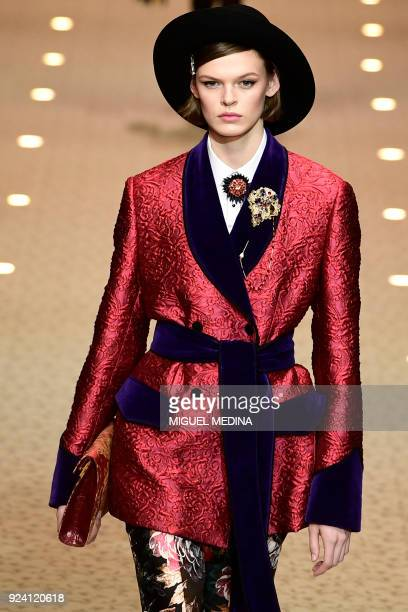 TOPSHOT A model presents a creation by Dolce Gabbana during the women's Fall/Winter 2018/2019 collection fashion show in Milan on February 25 2018
