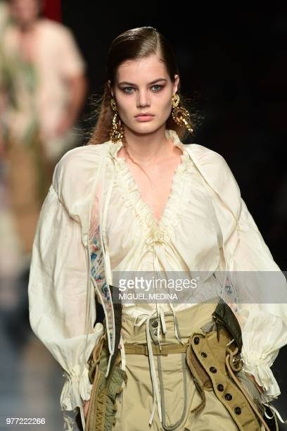 A model presents a creation by Dsquared2 during the men women's spring/summer 2019 collection fashion shows in Milan on June 17 2018