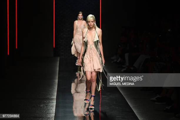 A model presents a creation by Dsquared2 during the men's and women's spring/summer 2019 collection fashion shows in Milan on June 17 2018