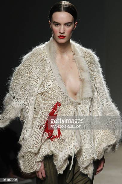 A model presents a creation by Dutch fashion designer Josephus Thimister during the springsummer 2010 haute couture collection shows on January 24...
