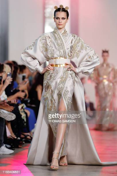 Model presents a creation by Elie Saab during the Women's Fall-Winter 2019/2020 Haute Couture collection fashion show in Paris, on July 3, 2019.