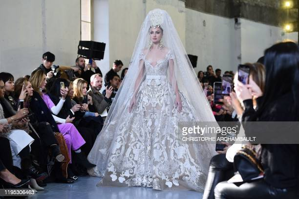 Model presents a creation by Elie Saab during the Women's Spring-Summer 2020 Haute Couture collection fashion show in Paris, on January 22, 2020.