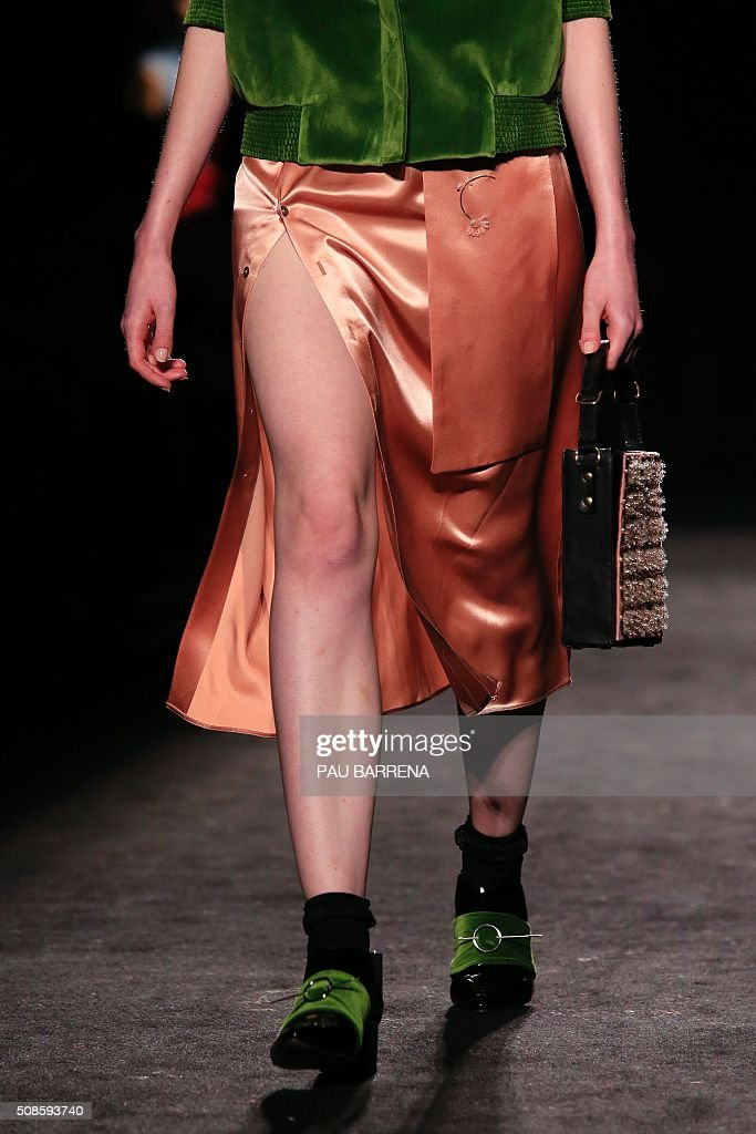 A model presents a creation by Enric Marti during the 080 Barcelona Autumn-Winter 2015-2016 fashion week in Barcelona on February 5, 2016.