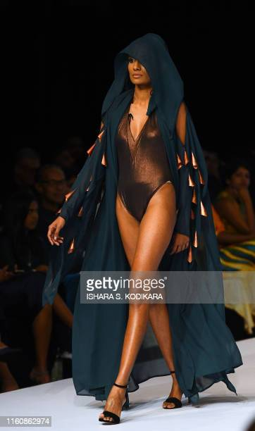 A model presents a creation by fashion designer Aqua Blu during Swim Week Colombo a fashion week dedicated to swimwear and resort wear in Colombo on...