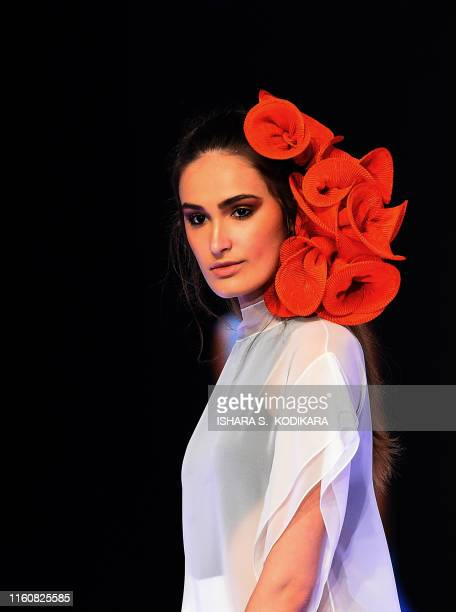 A model presents a creation by fashion designer Rodic during Swim Week Colombo a fashion week dedicated to swimwear and resort wear in Colombo on...
