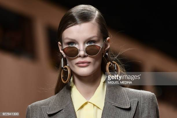 TOPSHOT A model presents a creation by Fendi during the women's Fall/Winter 2018/2019 collection fashion show in Milan on February 22 2018