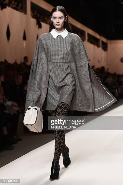 A model presents a creation by Fendi during the women's Fall/Winter 2018/2019 collection fashion show in Milan on February 22 2018 / AFP PHOTO /...