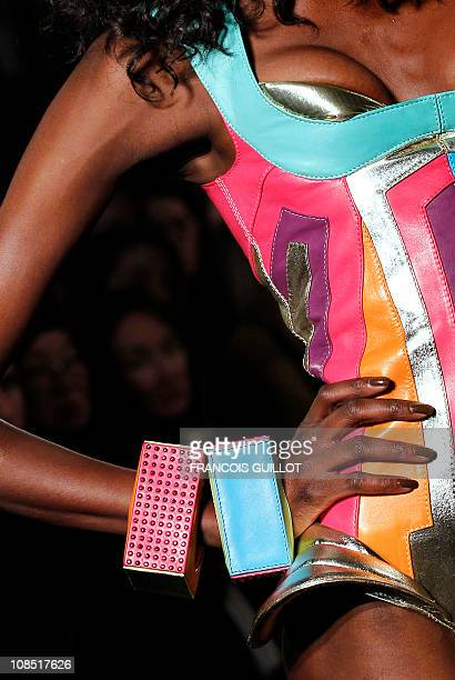 A model presents a creation by French designer Julien Fournie during the SpringSummer 2011 Haute Couture Collection Show on January 25 in Paris AFP...