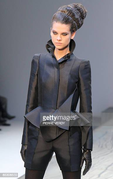 Model presents a creation by French-Swedish designer Marcel Marongiu for Guy Laroche during the autumn/winter 2009 ready-to-wear collection show in...