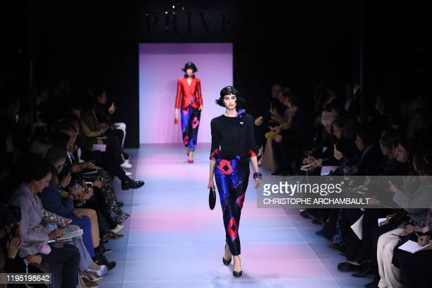 A model presents a creation by Giorgio Armani Prive during the Women's SpringSummer 2020 Haute Couture collection fashion show in Paris on January 21...