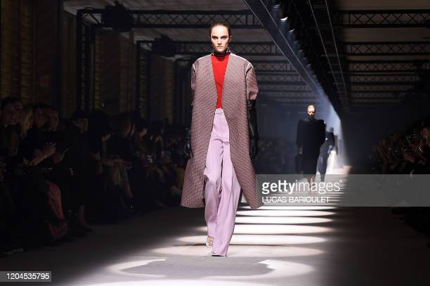 A model presents a creation by Givenchy during the Women's FallWinter 20202021 ReadytoWear collection fashion show at the ParisLongchamp Racecourse...