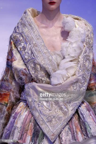 Model presents a creation by Guo Pei during the Women's Spring-Summer 2020 Haute Couture collection fashion show in Paris, on January 22, 2020.