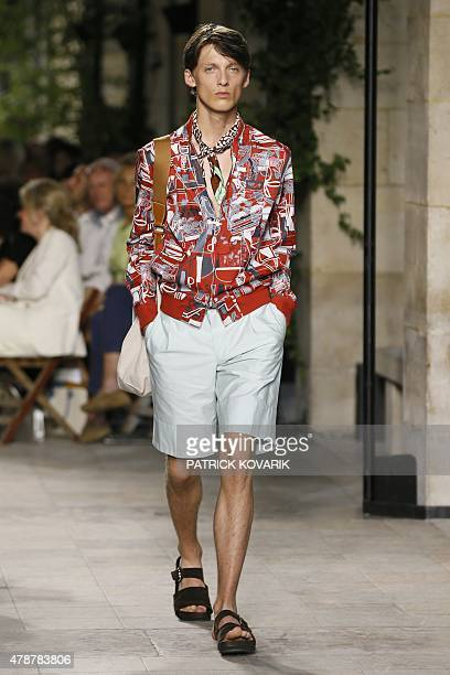 A model presents a creation by Hermes during the men's SpringSummer collection fashion show in Paris on June 27 2015 AFP PHOTO / PATRICK KOVARIK