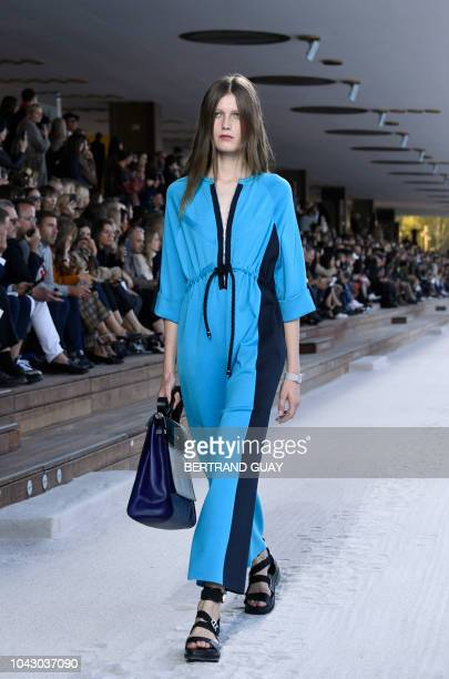 A model presents a creation by Hermes during the SpringSummer 2019 ReadytoWear collection fashion show in Paris on September 29 2018