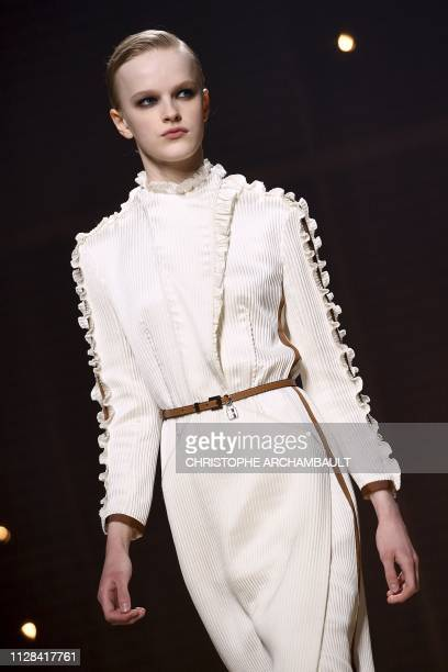 A model presents a creation by Hermes during the Women's FallWinter 2019/2020 ReadytoWear collection fashion show in Paris on March 2 2019