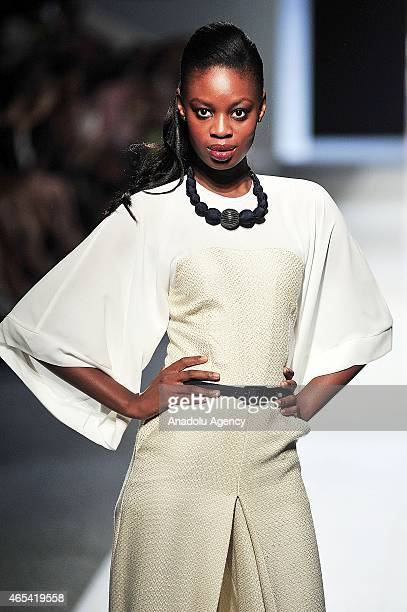 A model presents a creation by House Grapevine during the Mercedes Benz Fashion Week in Johannesburg South Africa on March 6 2015