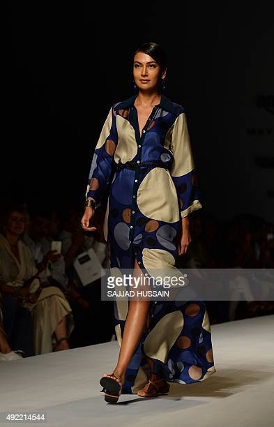 A model presents a creation by Indian fashion designer Debarun during the Amazon India Fashion Week Spring Summer 2016 in New Delhi on October 11...