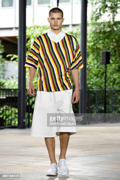 A model walks the runway during the Issey Miyake Menswear Spring/Summer 2019 show as part of Paris Fashion Week on June 21 2018 in Paris France
