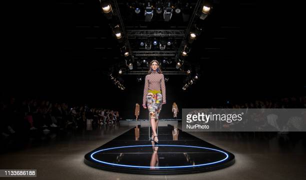 A model presents a creation by Italian designer Marco Rambaldi during Budapest Central European Fashion Week AW19/20 2019 on March 29 2019 at Várkert...