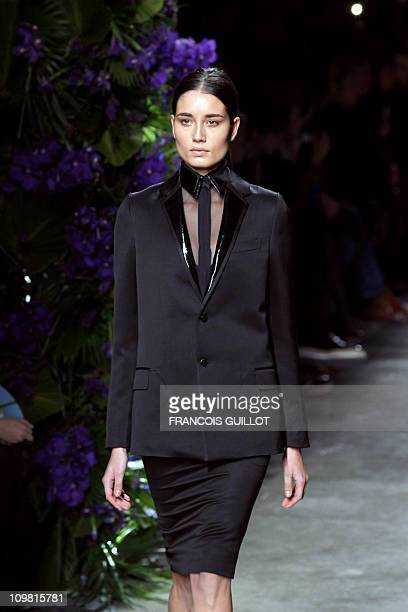 A model presents a creation by Italian designer Ricardo Tisci for Givenchy during the Autumn/Winter 20112012 readytowear collection show on March 6...