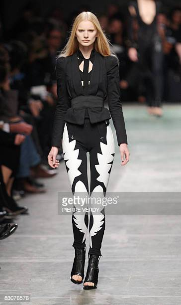 A model presents a creation by Italian designer Riccardo Tisci for Givenchy during the spring/summer 2009 readytowear collection show in Paris on...