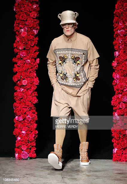 Model presents a creation by Italian fashion designer Ricardo Tisci for Givenchy during its Men's fall-winter 2011-2012 ready-to-wear collection show...