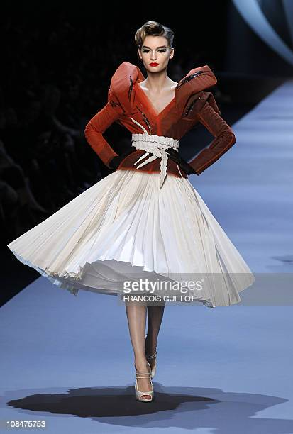 A model presents a creation by John Galliano for Christian Dior during the SpringSummer 2011 Haute Couture Collection Show on January 24 in Paris AFP...