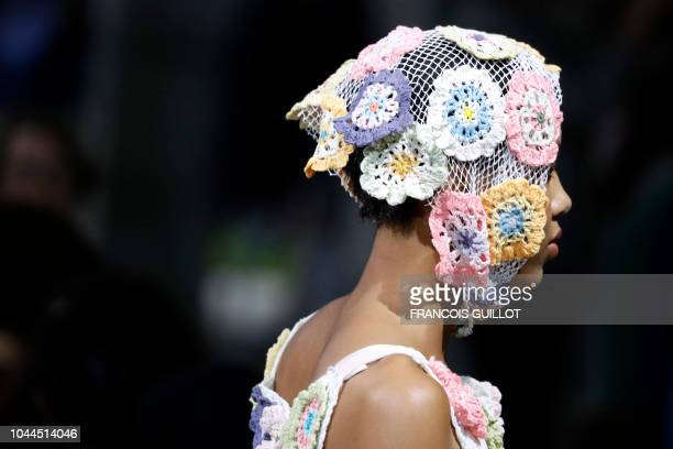Model presents a creation by Junko Shimada during the Spring-Summer 2019 Ready-to-Wear collection fashion show in Paris, on October 2, 2018.