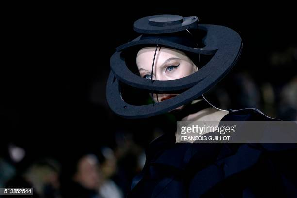 Model presents a creation by Junya Watanabe during the 2016-2017 fall/winter ready-to-wear collection on March 5, 2016 in Paris.