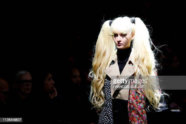 Model presents a creation by Junya Watanabe during the Fall-Winter 2019/2020 Ready-to-Wear collection fashion show in Paris, on March 2, 2019.