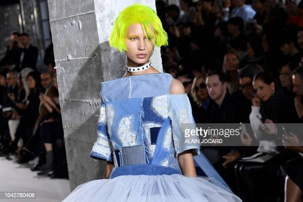 A model presents a creation by Junya Watanabe during the SpringSummer 2019 ReadytoWear collection fashion show in Paris on September 29 2018
