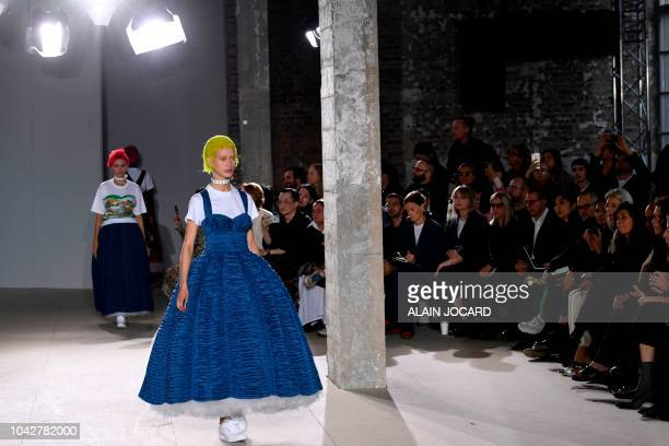 Model presents a creation by Junya Watanabe during the Spring-Summer 2019 Ready-to-Wear collection fashion show in Paris, on September 29, 2018.