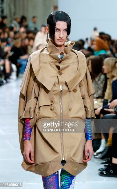 Model presents a creation by Junya Watanabe during the Women's Spring-Summer 2020 Ready-to-Wear collection fashion show, in Paris on September 28,...