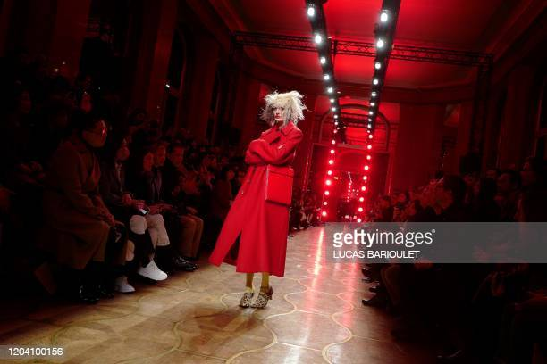 Model presents a creation by Junya Watanabe during the Women's Fall-Winter 2020-2021 Ready-to-Wear collection fashion show in Paris, on February 29,...