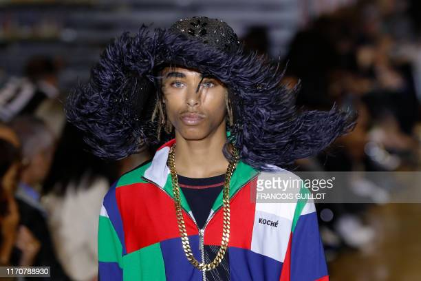 TOPSHOT A model presents a creation by Koche during the Women's SpringSummer 2020 ReadytoWear collection fashion show in Paris on September 24 2019