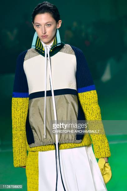 A model presents a creation by Lacoste during the Women's FallWinter 2019/2020 ReadytoWear collection fashion show in Paris on March 5 2019