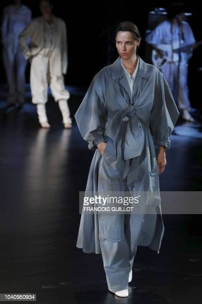 A model presents a creation by Lemaire during the SpringSummer 2019 ReadytoWear collection fashion show in Paris on September 26 2018