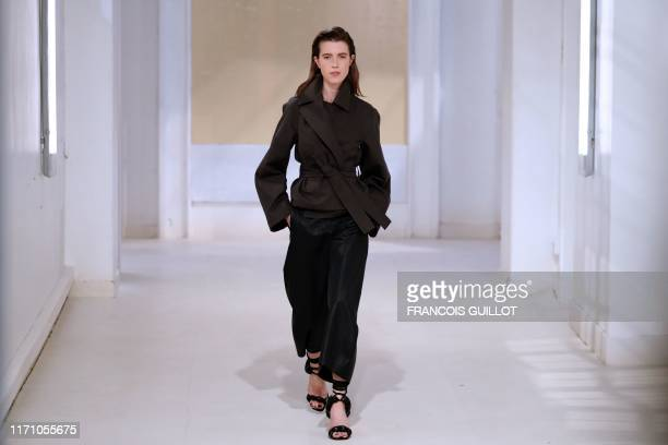 Model presents a creation by Lemaire during the Women's Spring-Summer 2020 Ready-to-Wear collection fashion show in Paris, on September 25, 2019.