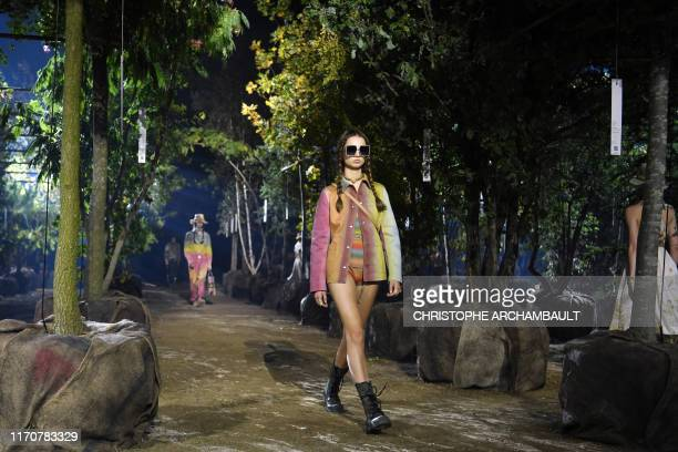 TOPSHOT A model presents a creation by Maison Dior during the Women's SpringSummer 2020 ReadytoWear collection fashion show at the Hippodrome de...