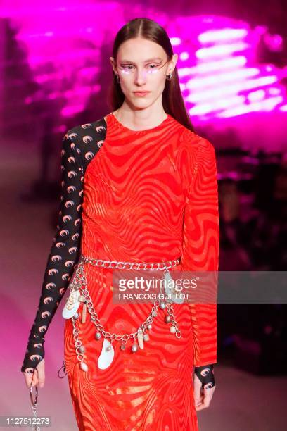 Model presents a creation by Marine Serre during the Fall-Winter 2019/2020 Ready-to-Wear collection fashion show in Issy-les-Moulineaux, on the...