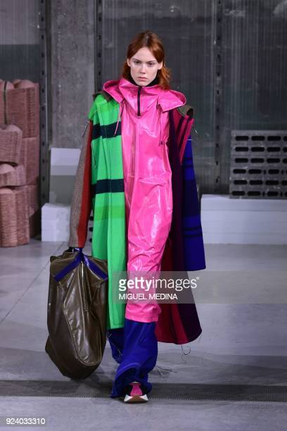 TOPSHOT A model presents a creation by Marni during the women's Fall/Winter 2018/2019 collection fashion show in Milan on February 25 2018